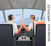smiling pilots in sunglasses... | Shutterstock .eps vector #689293123