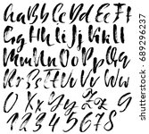 hand drawn dry brush font.... | Shutterstock .eps vector #689296237