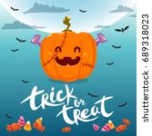 trick or treat card  poster.... | Shutterstock .eps vector #689318023
