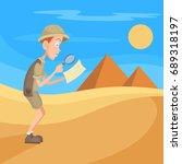 archaeologist  traveler or... | Shutterstock .eps vector #689318197