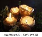 Four Golden Candles And Pine...