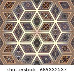 colorful vintage seamless... | Shutterstock .eps vector #689332537