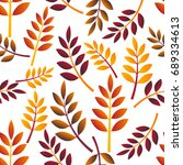 seamless pattern with autumn... | Shutterstock .eps vector #689334613