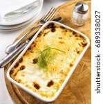 cheese polenta in a tray.... | Shutterstock . vector #689338027