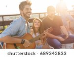 group of young friends having... | Shutterstock . vector #689342833