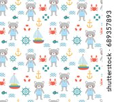 seamless pattern with cute... | Shutterstock .eps vector #689357893