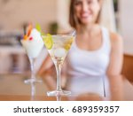 young woman in a resort with... | Shutterstock . vector #689359357