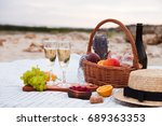 two glasses of champagne.... | Shutterstock . vector #689363353