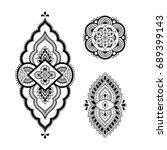 set of mehndi flower pattern... | Shutterstock .eps vector #689399143