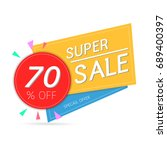 super sale  banner on colorful... | Shutterstock .eps vector #689400397