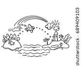 freehand drawing   cartoon... | Shutterstock . vector #689409103