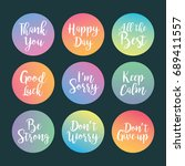 set of short phrases  thank you ... | Shutterstock .eps vector #689411557