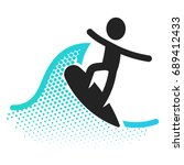 surfing flat icon pictogram... | Shutterstock . vector #689412433
