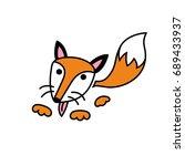 hand drawn vector fox in doodle ...   Shutterstock .eps vector #689433937