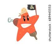 Funny Cartoon Starfish Pirate...