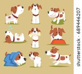 funny puppy daily routine set ... | Shutterstock .eps vector #689446207