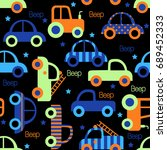 colorful toy vehicles seamless...   Shutterstock .eps vector #689452333