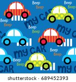 colorful toy cars seamless... | Shutterstock .eps vector #689452393