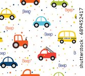 colorful toy vehicles seamless... | Shutterstock .eps vector #689452417