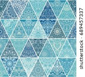 seamless patchwork with mandala ... | Shutterstock .eps vector #689457337