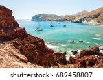 red beach on santorini island ... | Shutterstock . vector #689458807
