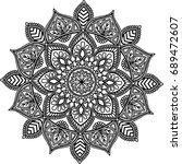 figure mandala for coloring... | Shutterstock .eps vector #689472607
