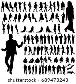 collection of silhouettes of a... | Shutterstock .eps vector #689473243