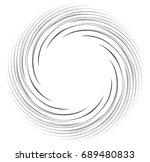 monochrome spiral geometric.... | Shutterstock . vector #689480833