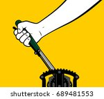 male hand using mechanical lever | Shutterstock .eps vector #689481553