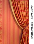 Ornate Red Curtain With...
