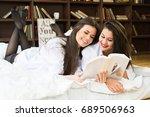 sensual adult girls posing in...   Shutterstock . vector #689506963