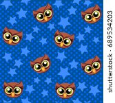 Cute  Owl And Stars Seamless...