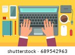 workspace. editable vector... | Shutterstock .eps vector #689542963