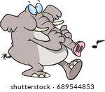 cartoon elephant playing his... | Shutterstock .eps vector #689544853