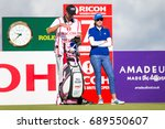 Small photo of Kingsbarns, St Andrews Scotland, 3rd August 2017. American Paula Creamer discussing tactics with her caddie during the Ricoh Women's British Open