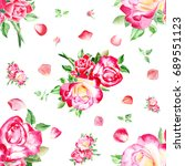 seamless watercolor pink roses... | Shutterstock . vector #689551123