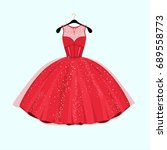 red long dress. dress with... | Shutterstock .eps vector #689558773
