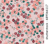 flowery bright pattern in small ... | Shutterstock .eps vector #689566117