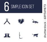 set of 6 farm icons set... | Shutterstock .eps vector #689569873