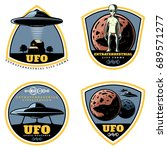 vintage colored ufo emblems set | Shutterstock .eps vector #689571277