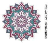 colorful mandala with floral...   Shutterstock .eps vector #689594263