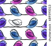colorful seamless pattern. bird ... | Shutterstock .eps vector #689595013