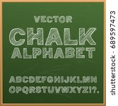 chalk hand drawing alphabet ... | Shutterstock .eps vector #689597473
