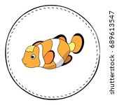 funny clownfish isolated on...   Shutterstock .eps vector #689613547