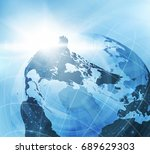 earth globe business background ...   Shutterstock .eps vector #689629303