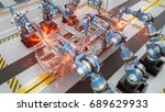 car conveyor belt on the...   Shutterstock . vector #689629933