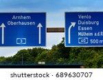 highway sign  directional sign... | Shutterstock . vector #689630707