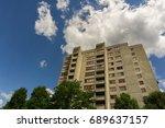 a big building under a blue...   Shutterstock . vector #689637157