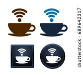 design of wifi coffee icons on... | Shutterstock .eps vector #689642317