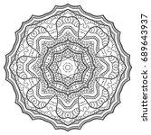 outline mandala for coloring... | Shutterstock .eps vector #689643937